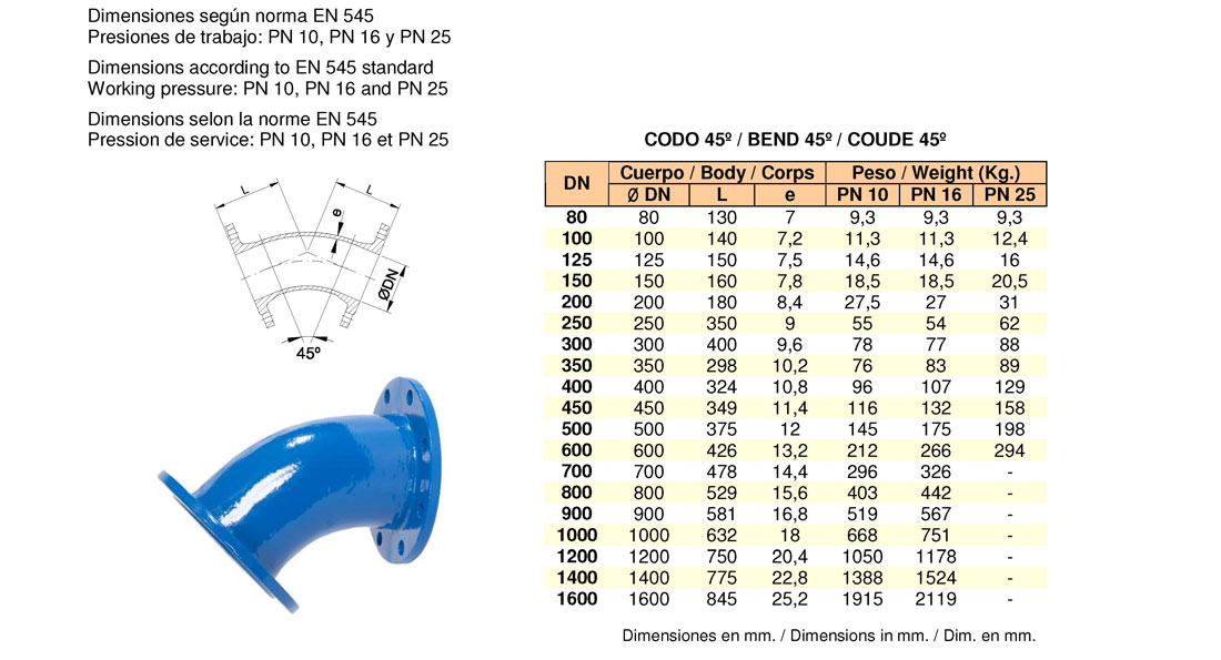 Codo doble brida fija 45º. FMK Hidraulic Supplies.