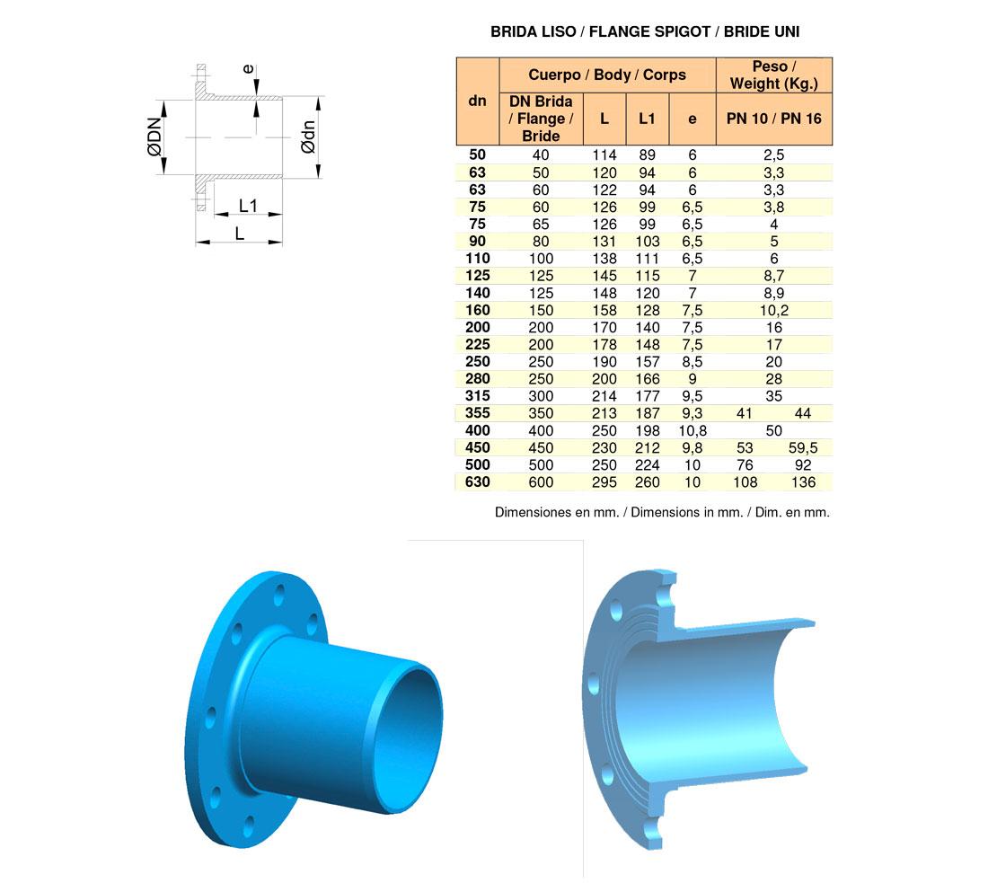 Brida liso para tuberías de PVC